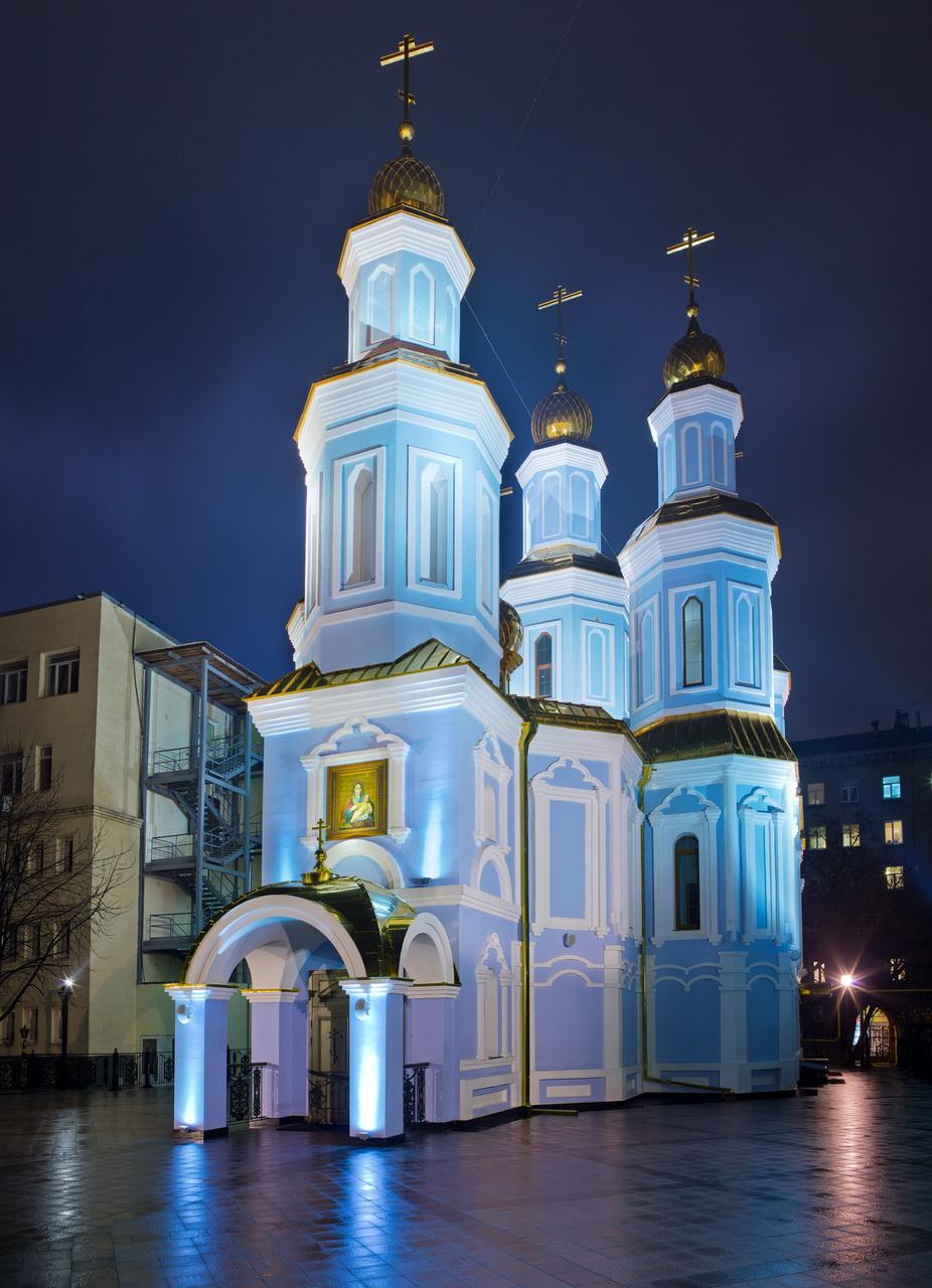 Архитектурное освещение храм в честь иконы Козельщанской Божьей Матери
