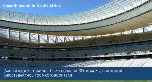 Для каждого стадиона была создана 3D-модель, в которой  расставлялись громкоговорители