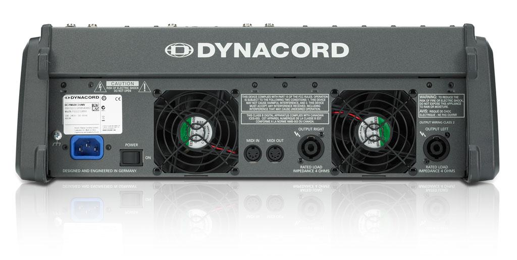 Задняя часть самого маленького микшера-усилителя Dynacord PowerMate 600-3
