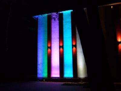 Небольшая световая демонстрация возможностей светодиодного архитектурного оборудования Eurolite в первый день